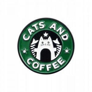 PINETS Przypinka koty Cats and Coffee Kotek Kawa